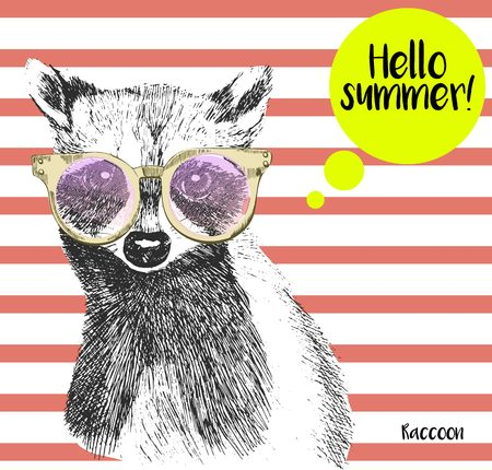 Vector close up portrait of raccoon wearing the sunglassess. Bright hello summer racoon portrait. Hand drawn wild mammal animal  illustration. Isolated on background with peach echo strips. Illustration