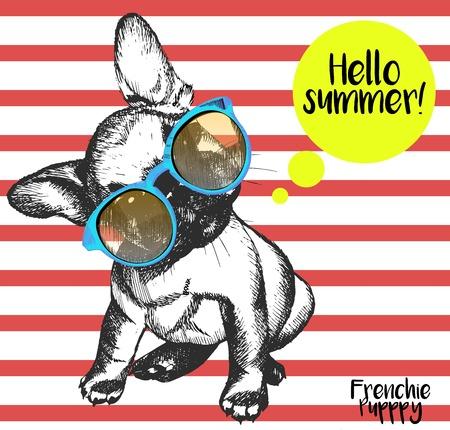Vector retrato de cerca de bulldog francés que llevaba el sunglassess. hola verano brillante retrato de bulldog francés. Dibujado a mano ilustración perro mascota doméstica. Aislado en el fondo de las rayas rojas.