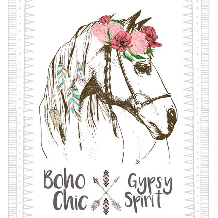 Vector fashion boho chick style horse with flower, feather wreath and arrow. Traditional bohemian deoration. Use for poster, party, fashion, events, promotion, shop, store, design.
