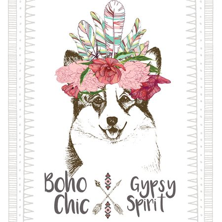 pembroke: Vector close up portrait of welsh corgi, wearing the indian feather headpiece. Hand drawn domestic dog illustration. Traditional boho chic decoration, with aztec arrows, feather and flowers.