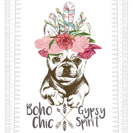 Vector close up portrait of french bulldog, wearing the indian feather headpiece. Hand drawn domestic dog illustration. Traditional boho chic decoration, with aztec arrows, feather and flowers. Illusztráció
