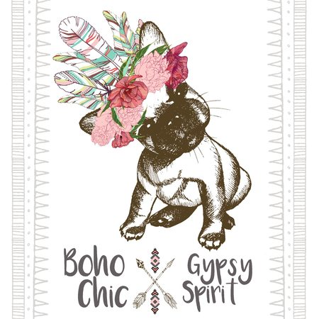 Vector close up portrait of french bulldog puppy, wearing the indian feather headpiece. Hand drawn domestic dog illustration. Traditional boho chic decoration, with aztec arrows, feather and flowers.