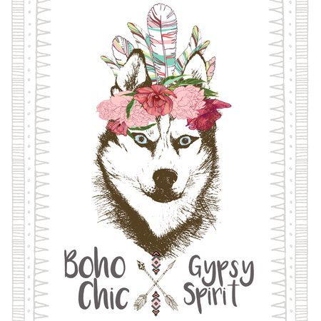 siberian husky: Vector close up portrait of siberian husky, wearing the indian feather headpiece. Hand drawn domestic dog illustration. Traditional boho chic decoration, with aztec arrows, feather and flowers.