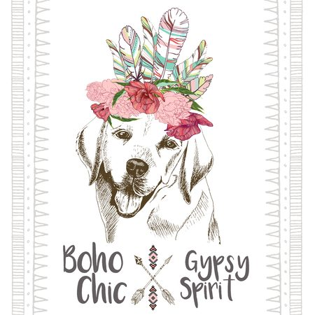 headpiece: Vector close up portrait of labrador retriever, wearing the indian feather headpiece. Hand drawn domestic dog illustration. Traditional boho chic decoration, with aztec arrows, feather and flowers.