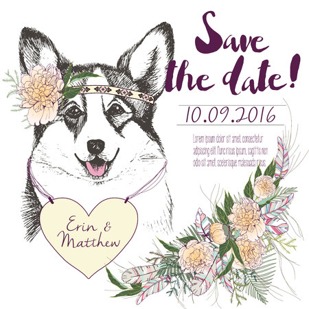pembroke welsh corgi: set of wedding invitation. Save the date card. Trendy style of 2016 summer boho chic.Corgi dog portrait wearing the flower headpiece and heart coulomb. Decorated with large flower boucket Illustration