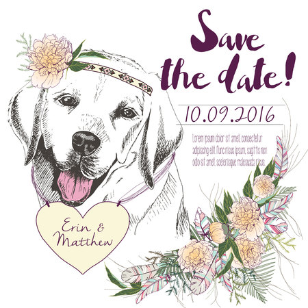 coulomb: set of wedding invitation. Save the date card. Trendy style of 2016 summer boho chic.Labrador dog portrait wearing the flower headpiece and heart coulomb. Decorated with large flower boucket.