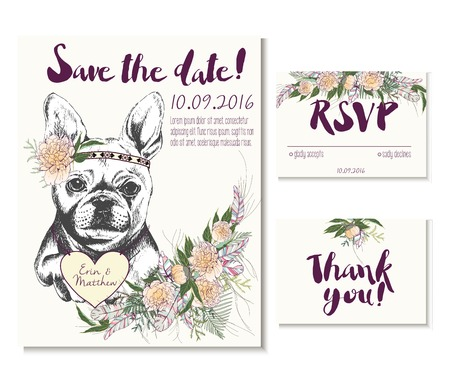 coulomb: Vedding card set in trendy boho style. French bulldog wearing flower crown and heart coulomb. Decorated with floral bouquet and feathers. Includes save the date. rsvp and thank you cards templates. Illustration