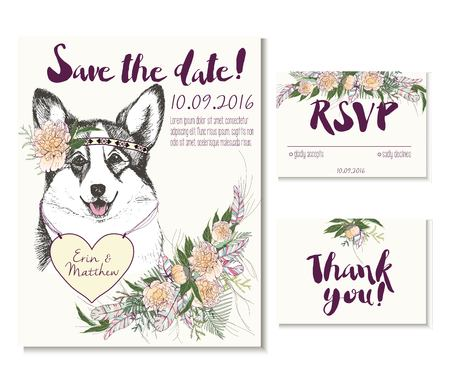 welsh: Vedding card set in trendy boho style. Welsh corgi wearing the flower crown and heart coulomb. Decorated with floral bouquet and feathers. Includes save the date, rsvp and thank you cards templates. Illustration