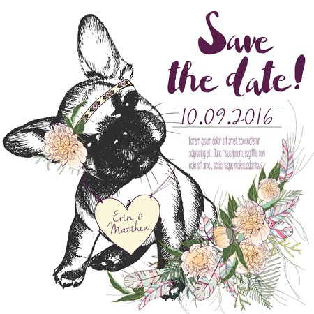 coulomb: set of wedding invitation. Save the date card. Trendy style of 2016 summer boho chic. French bulldog dog portrait wearing the flower headpiece and heart coulomb. Decorated with flower bouquet