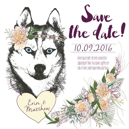 set of wedding invitation. Save the date card. Trendy style of 2016 summer boho chic. Siberian husky dog portrait wearing flower headpiece and heart coulomb. Decorated with large flower bouquet
