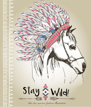 traditional events: fashion boho chick style horse with flower, feather wreath and arrow. Traditional bohemian decoration. Use for poster, party, fashion, events, promotion, shop, store, design. Illustration