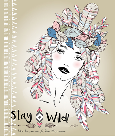 headpiece: fashion illustration of bohemian woman with headpiece of feathers. Decorated with traditional boho geometry and arrows. Trendy pastel colors. Stay Wild.