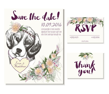 coulomb: Wedding card set in trendy boho style.Beagle dog wearing flower crown and heart coulomb. Decorated with floral bouquet and feathers. Includes save the date. rsvp and thank you cards templates.