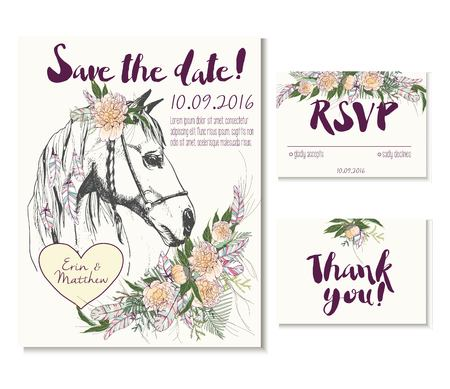 rsvp: Wedding card set in trendy boho style. Horse wearing flower crown and heart coulomb. Decorated with floral bouquet and feathers. Includes save the date, rsvp and thank you cards templates.