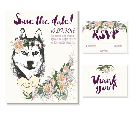 coulomb: Wedding card set in trendy boho style. Siberian husky dog wearing flower crown and heart coulomb. Decorated with floral bouquet and feathers. Includes save the date, rsvp and thank you cards templates.