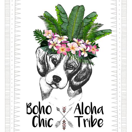tribe: close up portrait of beagle, wearing the exotic flower crown. Hand drawn domestic dog illustration. Tropical Hawaiian boho chic decoration, with palm leaves and flowers. Aloha tribe