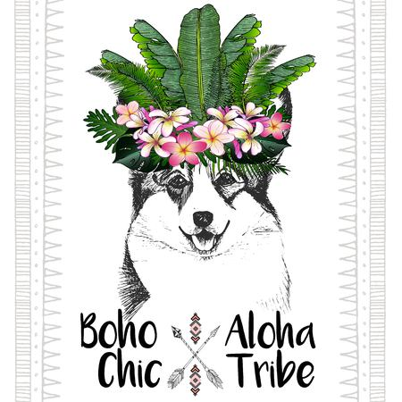 pembroke: close up portrait of welsh corgi, wearing the exotic flower crown. Hand drawn domestic dog illustration. Tropical Hawaiian boho chic decoration, with palm leaves and flowers. Aloha tribe