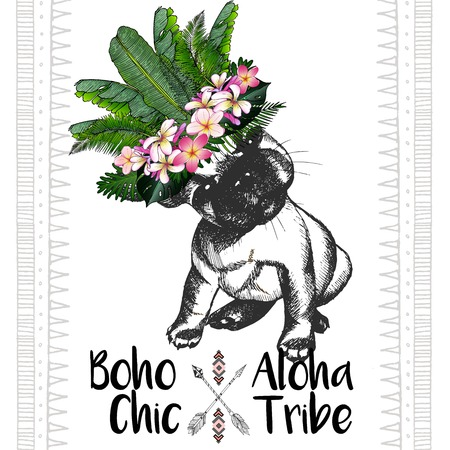 tribe: close up portrait of french bulldog, wearing the exotic flower crown. Hand drawn domestic dog illustration. Tropical Hawaiian boho chic decoration, with palm leaves and flowers. Aloha tribe Illustration