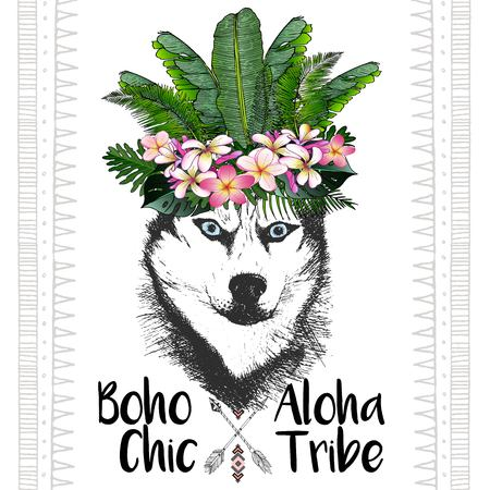 siberian: close up portrait of siberian husky, wearing the exotic flower crown. Hand drawn domestic dog illustration. Tropical Hawaiian boho chic decoration, with palm leaves and flowers. Aloha tribe Illustration