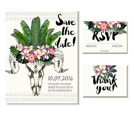 palm wreath: wedding card set in trendy boho style. Skull wearing exotic  flower and palm leaves crown. Includes save the date, rsvp and thank you cards templates. Illustration