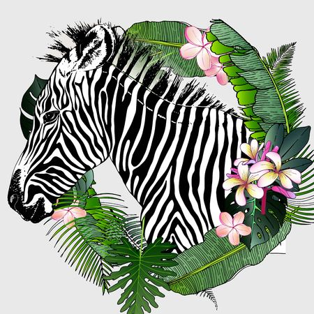 portrait of zebra. Decorated with exotic palm leaves and flowers. Wild African animals collection in hand drawn color style.