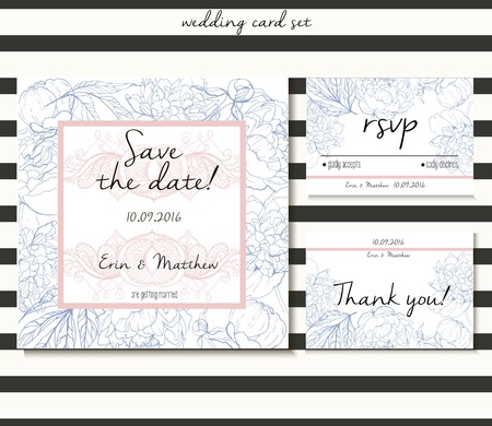 suite: Vector wedding card set in tender style.  Decorated with peony bouquet and lace. Includes save the date, rsvp and thank you cards templates.