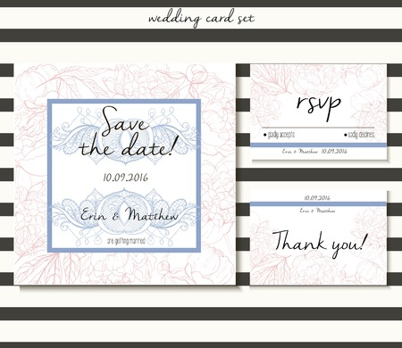 rsvp: Vector wedding card set in tender style.  Decorated with peony bouquet and lace. Includes save the date, rsvp and thank you cards templates.