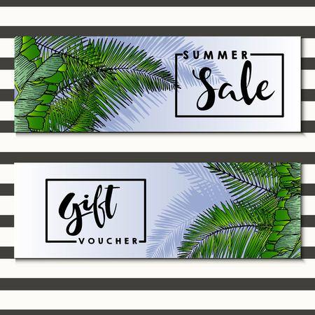 gratis: Set of vector flyer for summer sale and gift voucher Decorated with trendy exotic palm leaves. Square text border template. Hand drawn art.