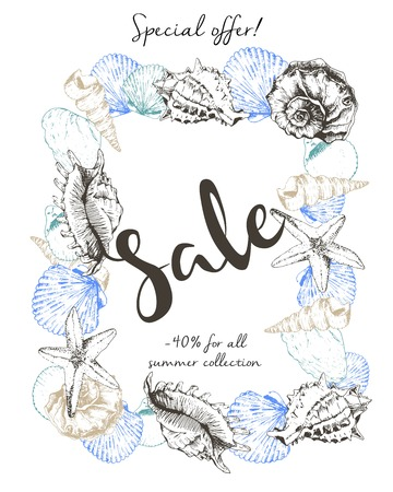 caligraphy: Vector flyer of summer sale. Decorated with seashells and lettering caligraphy. Hand drawn vintage art. Good for anoucne discount at business fashion store. Illustration
