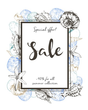 abatement: Vector flyer of summer sale. Border square composition. Decorated with seashells. Hand drawn vintage art. Good for anoucne discount at business fashion store. Illustration