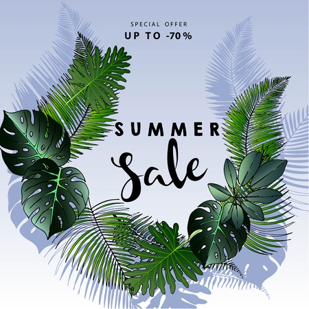 palm wreath: Vector flyer of summer sale. Decorated with trendy exotic plants. Hand drawn art. Good for announce discount at business fashion store.