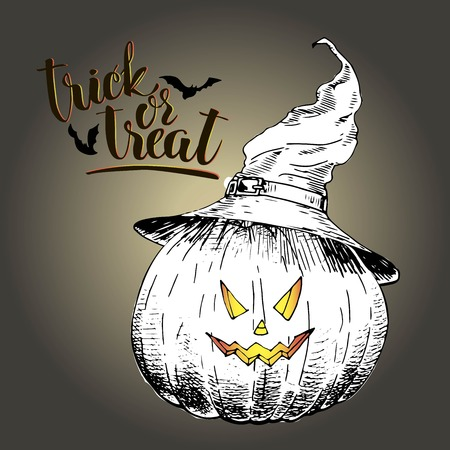 smilling: Vector greeting card for Halloween. Pumpkin in witch hat with scary smilling curved face. Vintage hand drawn illustration. Decorated with bats and lettering.