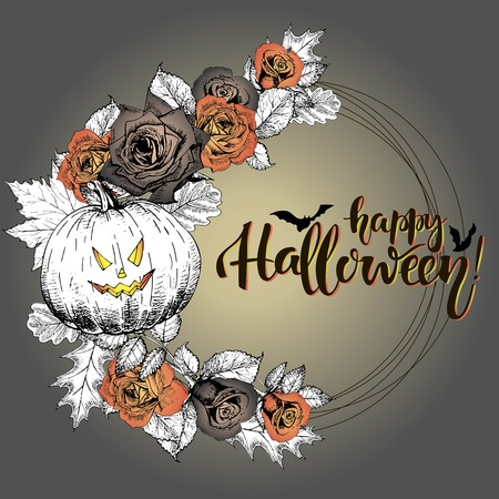 orange roses: Vector poster with floral wreath. Happy Halloween. Roses, pumpkin, oak and mapple autumn leaves. Vintage engraved style greeting card. Hand drawn. Illustration