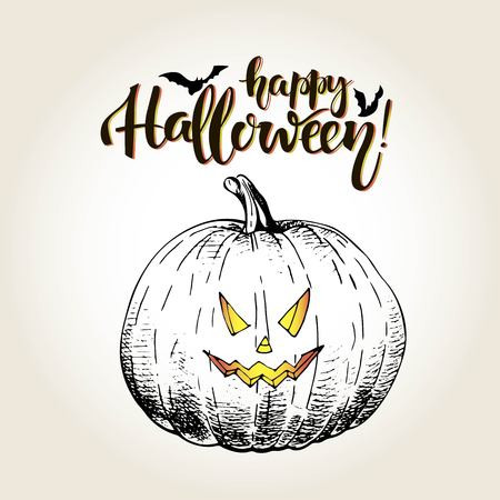 smilling: Vector greeting card for Halloween. Pumpkin with scary smilling curved face. Vintage hand drawn illustration. Decorated with bats and lettering.
