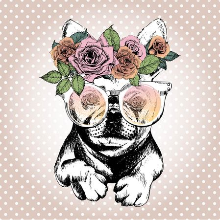 Vecotr portrait of dog, wearing the floral wreath and sunglasses. Hand drawn vintage trendy illustration. French bulldog breed. Isolated on polka dot and rose gold background.