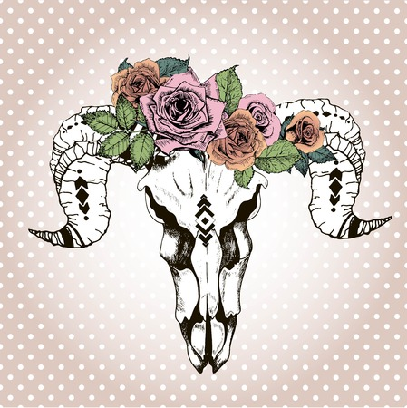 ethnics: Vector portrait of animal skull wearing the floral crown. Isolated on rose-gold backgroung with white polka dots. Vintage engraved style color illustration. Print for tattoo.