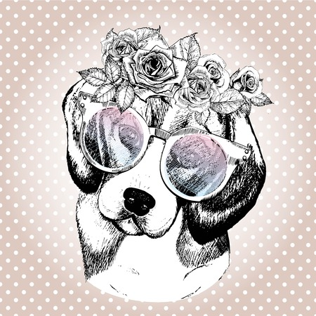 Vecotr portrait of dog, wearing the floral wreath and sunglasses. Hand drawn vintage trendy illustration. Beggle breed. Isolated on polka dot and rose gold background.