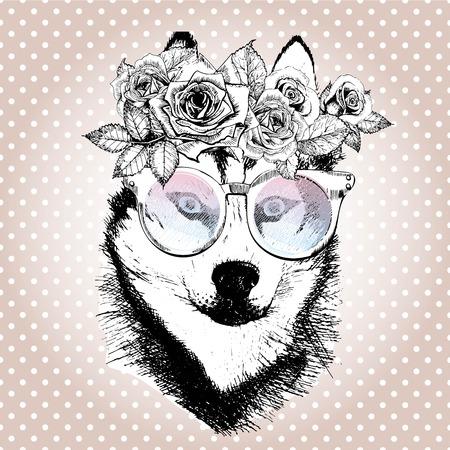 retrato vecotr del perro, llevando la corona de flores y gafas de sol. Dibujado a mano ilustración de la vendimia de moda. raza husky siberiano. Aislados en lunares y fondo color de rosa de oro.