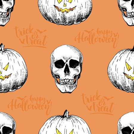 Vector seamless pattern of human skulls and pumkins isolated on orange background. Hand drawn engraved style. Happy Haloween. Trick or treat. Use for wrapping paper, design, store, party, textile.