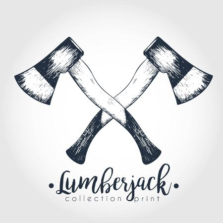 ranger: Vector hand drawn logo of two crossed axes. Lumberjack print collection. Vintage engraved art. Hipster trendy forest illustration. Use for prints, logo design, restaurant, camping, business. Illustration