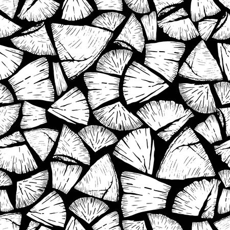 wood cross section: Vector seamless pattern of firewoods isolated on black background. Lumberjack print collection. Hand drawn vintage style art.  Hipster trendy forest illustration.