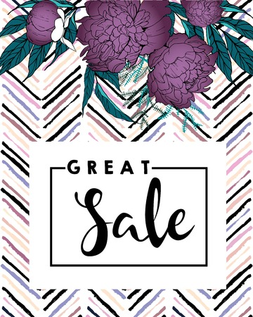 wawe: Vector banner for great sale. Square text template. Purple peonies and chevron modern brush spot in trendy pastel colors. Use for business fashion promotion. Illustration