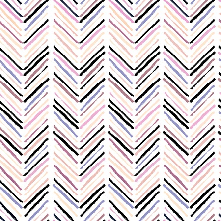 wite: Vector seamless pattern of modern brush spots making geometric chevron. Trendy pastel pink, rose, beige and purple colors. Isolated on wite background. Use for scrapbooking, wrapping paper, notebook cover, design. Illustration