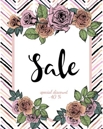 wawe: Vector banner for great sale. Chevron text template. Rose gold flowers and chevron modern brush spot in trendy pastel colors. Use for business fashion promotion.