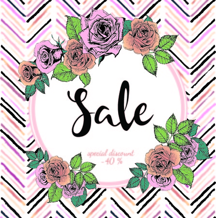 wawe: Vector banner for great sale. Round text template. Rose gold flowers and chevron modern brush spot in trendy pastel colors. Use for business fashion promotion.