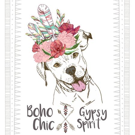 Vector close up portrait of pitbull dog, wearing the indian feather headpiece. Hand drawn domestic dog illustration. Traditional boho chic decoration, with aztec arrows, feather and flowers.