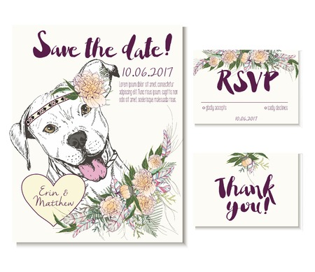 coulomb: Vedding card set in trendy boho style. Pitbull dog wearing the flower crown and heart coulomb. Decorated with floral bouquet and feathers. Includes save the date, rsvp and thank you cards templates.