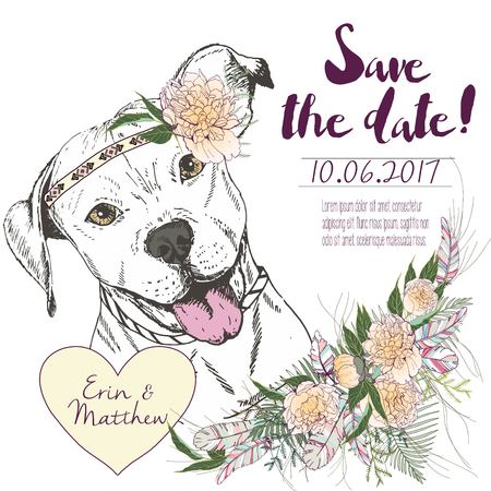 Vector set of wedding invitation. Save the date card. Trendy style of 2016 summer boho chic.Pitbull  wearing the flower headpiece and heart coulomb. Decorated with large flower boucket