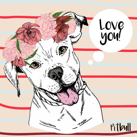 stafford: Vector close up portrait of pitbull girl, wearing the flower wreath. Hand drawn domestic pet dog illustration. Isolated on neutral background with red and blue stripes.