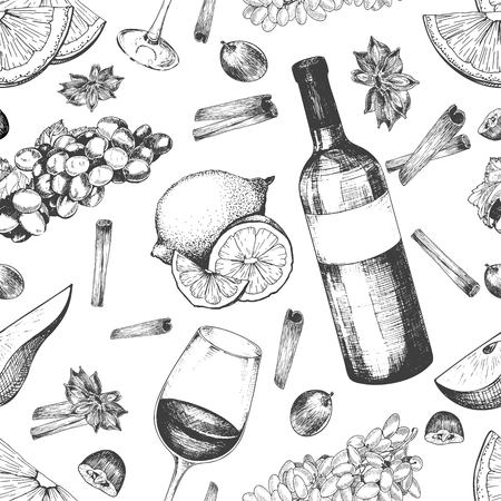 alcoholic drink: Vector seamless pattern of mulled wine ingredients. Wine, bottle, glass, orange, grape, anise, cinnamon. Warm alcoholic drink. Hand drawn vintage style